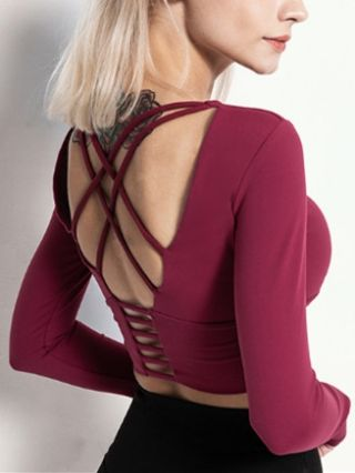 Fall Winter New Backless Straps Fitness T-shirt Long Sleeve Round Neck Yoga Sport Tops with Pad