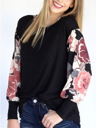 Spring Fall Floral Printed Stitching Long Sleeve Round Neck Loose Casual T-shirt