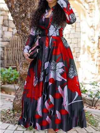 Floral Printed Long Sleeve Stand Collar Single Breasted Long Swing A-Line Dress