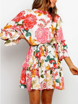 Spring Floral Printed Three Quarters Sleeve Round Neck Layered Belted Short A-Line Dress
