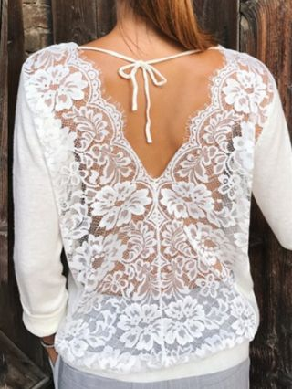 Spring Summer Backless Lace Stitching Long Sleeve Round Neck Casual T-shirt
