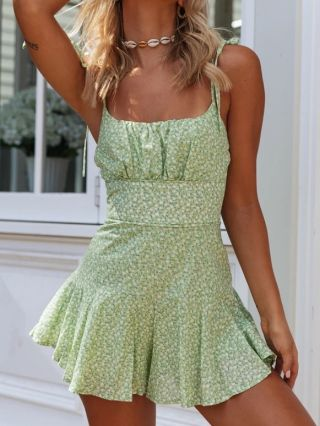 Summer Women Floral Printed Open Back Straps Rompers