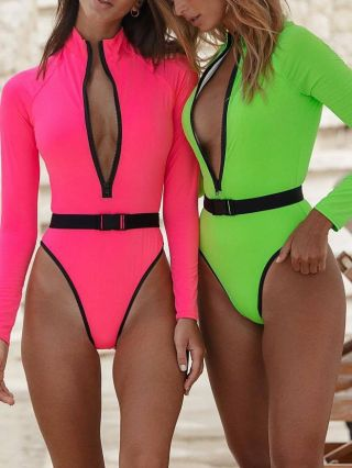 2020 New Fluorescence Color Swimsuit Long Sleeve Zipper Standing Collar Swimwear Belted One Piece Bathing Suits