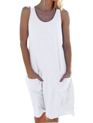 2020 Spring Summer New Sleeveless Round Neck Solid Color Pockets Loose Casual Vest Dress