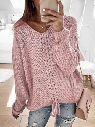 Women Fall Winter Lace-up V-Neck Long Sleeve Loose Casual Sweater