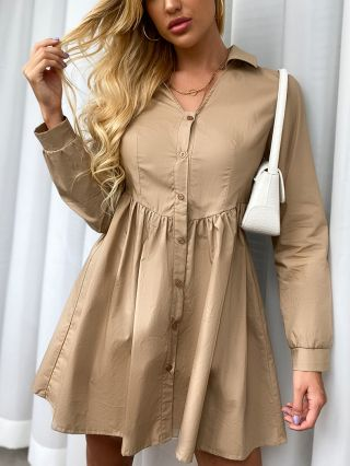 Fall Solid Color V-Neck Long Sleeve Shirred Single Breasted Shirt Dress