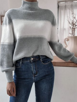 Fall Winter Casual Stitching Color Lantern Long Sleeve High-neck Women Knitted Sweater