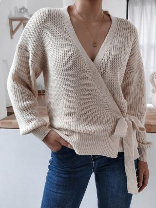 Women Fall Winter New V-Neck Long Sleeve Belted Bowknot Knitted Casual Sweater