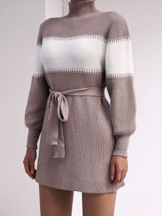 Long Sleeve Casual Stitching Color Half High-neck Belted Knitted Sweater Dress