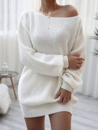 One Shoulder Long Sleeve Casual Loose Knitted Short Sweater Dress