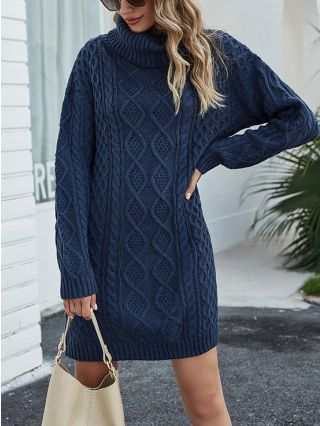 Fall Winter New High-neck Twist Knitted Loose Long Sweater Dress