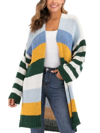 Women New Contrast Color Striped Woven Loose Casual Long Cardigan Coat