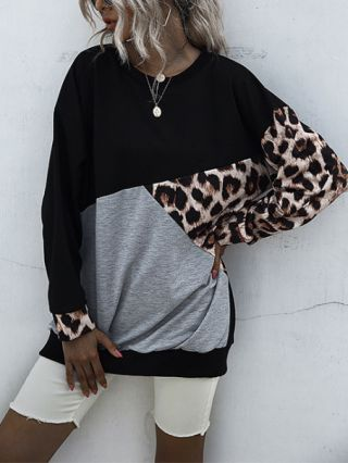 Fall New Women Long Sleeve Round Neck Leopard Print Stitching Color Pullover Sweatshirt