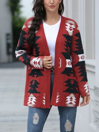 New Fall Winter Knitted Coat Printed Pockets Long Sleeve Women Cardigan Sweaters