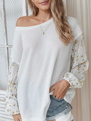 Fall Winter New Floral Printed Stitching Long Sleeve Knitted Loose T-shirt Women Tops