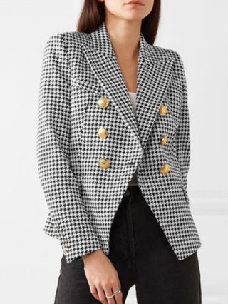 Fall Winter New Women Houndstooth Blazer Fashion Double Breasted Lapel Long Sleeve Short Coat
