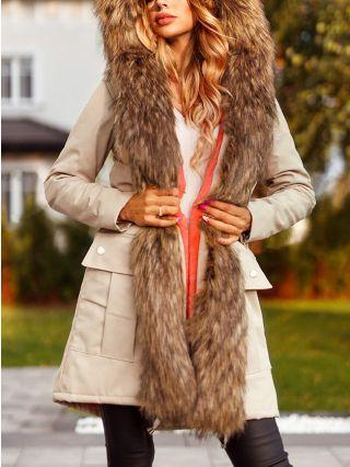 Winter New Hooded Warm Faux Fur Overcoat Women Thick Medium Long Fleece Parka