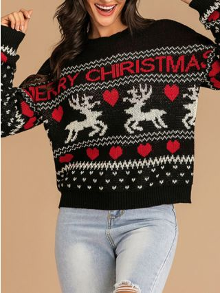 Fall Winter Round Neck Loose Printed Casual Long Sleeve Knitted Christmas Sweater
