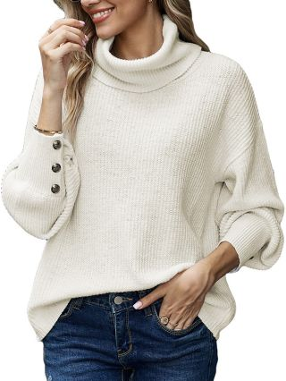 Fall Winter New Solid Color Turtleneck Single Breasted Long Sleeve Loose Warm Women Sweater