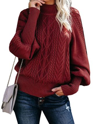 Women Winter New Weaved Sweater Solid Color High-neck Long Sleeve Twisted Warm Sweaters