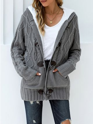 Fall Winter New Fleece Thick Warm Women Cardigan Long Sleeve Hooded Loose Knitted Coat