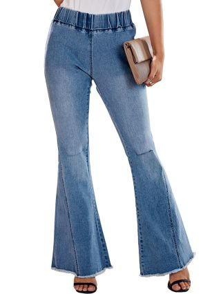 Women Fashion Fall New Ripped Jeans High Waist Bell-bottomed Trousers Pants