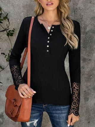 Fall New Loose Solid Color Casual T-shirt Single Breasted Lace Stitching Long Sleeve Women Bottoming Shirts