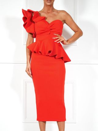 Women New Two Piece Set Dress One Shoulder Sleeveless Ruffled Backless Tops and Split Midi Bodycon Dresses