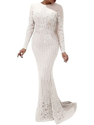 Women New Elegant White Hollow Sequins Long Sleeve Floor Length Bodycon Evening Prom Dress
