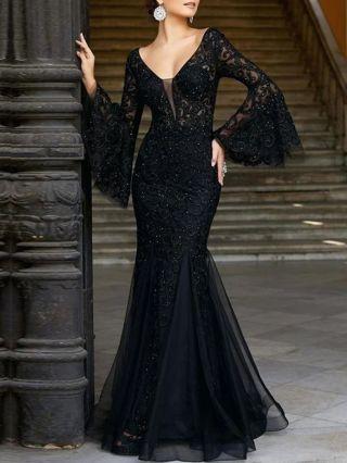 Women New Black Dress V-Neck Bell Long Sleeve Lace Dress Wedding Banquet Mermaid Evening Prom Dresses