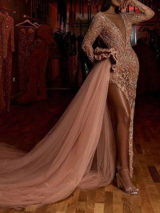 Women Sexy Deep V-Neck Long Sleeve Sequins Split Maxi Gauze Trailing Evening Prom Dress