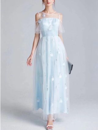 New Gauze Little Swan Embroidery Short Sleeve French Bridesmaid Evening Long Dress