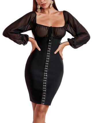 Women New Gauze Stitching Long Sleeve Black Dress Square Neck Lace-up Knitted Bodycon Evening Dresses