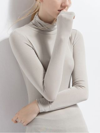 Plus Size Fall Winter Long Sleeve T-shirt Women Solid Color High-neck Modal Bottoming Shirts