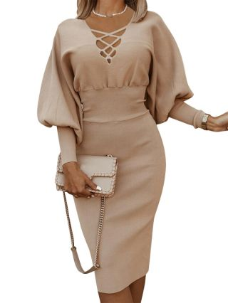 Women New Solid Color High Waist Hollow V-Neck Lantern Long Sleeve Knitted Bodycon Midi Dress