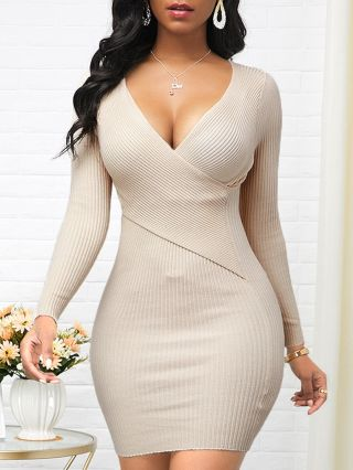 Fall Winter New Women Solid Color Sexy V-Neck Long Sleeve Knitted Short Sweater Dress