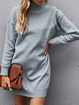 Women Winter New Grey French Mini Dress Solid Color Half High-neck Single Breasted Long Sleeve  Knitted Sweater Dresses