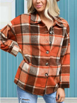 Fall Winter New Thick Plaid Shirt Lapel Long Sleeve Single Breasted Women Tops Coat