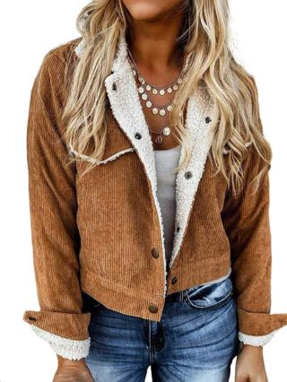 Women New Solid Color Corduroy Jacket Single Breasted Lapel Long Sleeve Fleece Padded Cropped Coat