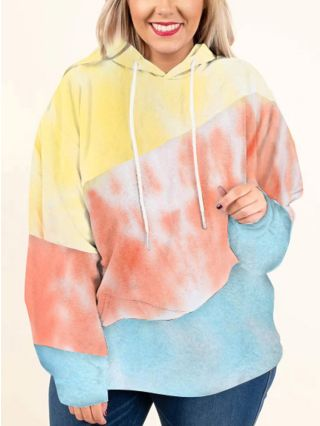 Plus Size Stitching Color Hoodies Women Fall Winter New Long Sleeve Multi-color Sweatshirt Tops