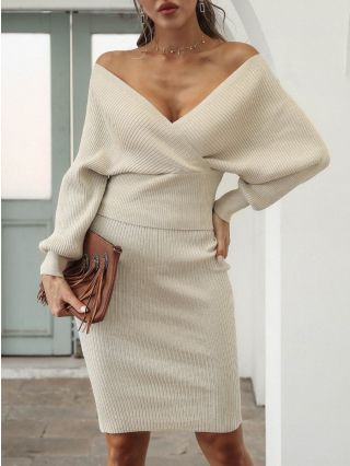 Fall Winter Women New Off the Shoulder V-Neck Backless Bat Long Sleeve Tops Midi Bodycon Skirt Two Piece Dress