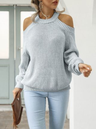 Fall Winter New Women Cold Shoulder Round Neck Long Sleeve Casual Loose Knitted Sweater