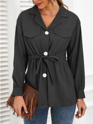 Women Spring New Casual Shirt Lapel Single Breasted Long Sleeve Bowknot Belted Tops