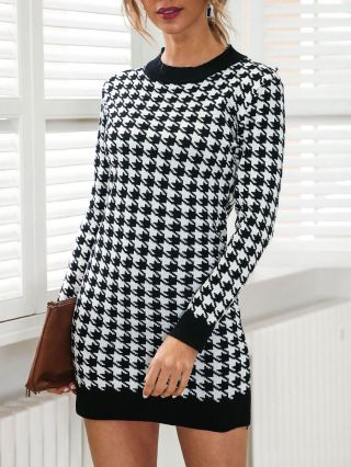 Women Fall Winter New Houndstooth Knitted Sweater Dress Long Sleeve Short Bodycon Dresses