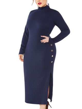 Fall Winter Women Solid Color Single Breasted Side Split Sweater Dress Half High-neck Long Sleeve Knitted Plus Size Dresses