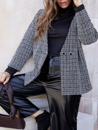 Fall Women New Fashion Knitted Two Buttons Long Sleeve Plaid Loose Short Woolen Coat