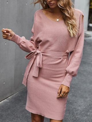 Women Fall Winter New Solid Color V-Neck Cut Out Long Sleeve Belted Midi Bodycon Dress