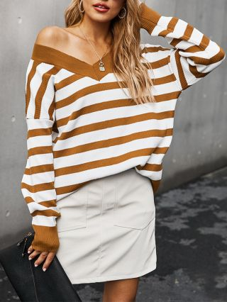 Fall Winter New Fashion Knitted V-Neck Striped Long Sleeve Women Loose Tops T-shirt