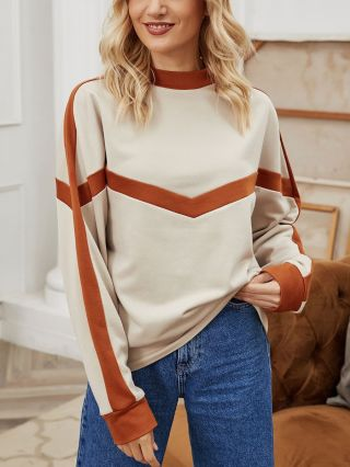 Fall Winter New Korean Round Neck Long Sleeve Stitching Color Pullover Loose Sweatshirt