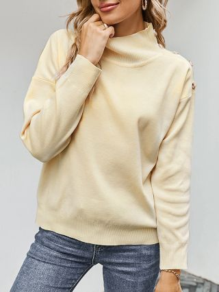 Women Fall Winter New High-neck Single Breasted Long Sleeve Solid Color Knitted Sweater